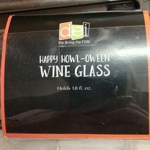 DEI Holiday - NIB Halloween Wine Glass,Hand painted,euc